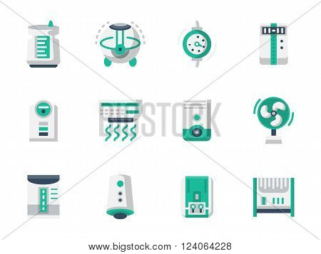 Equipment and appliances for heating and conditioning of home or office space. Air purification and ionizing. Home climate. Flat color vector icons. Design elements for website, mobile app, business.