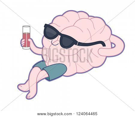 Relaxing with a glass of juice flat cartoon vector illustration - a brain lying with a glass of red juice wearing shorts and sunglasses.