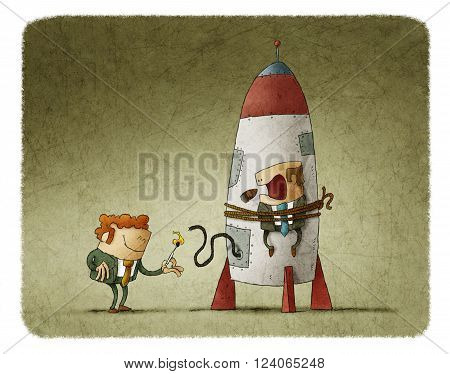 Man lighting up the rocket with man tied on it who is scary and smoking cigar