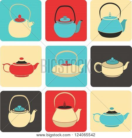 Vector set of color silhouettes teapots icons