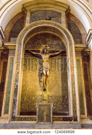 Zaragoza, Spain - March 24, 2016: Detail Of Christ Crucifixtion Statue Inside  Basilica Of The Virge