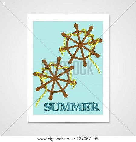 Summer poster with ship wheels in flat style.
