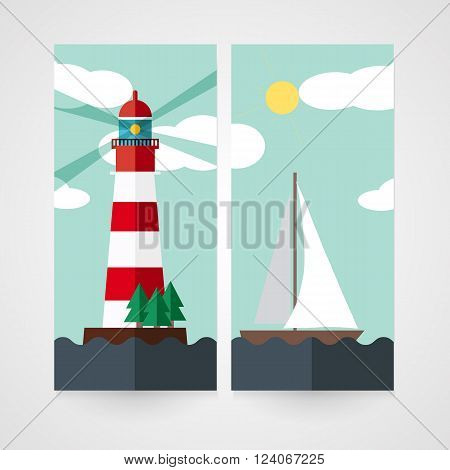 Card with red beacon on island and sailboat in flat style