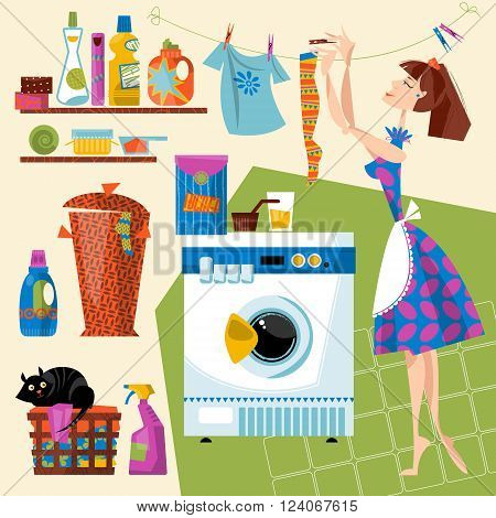 Laundry Room. Housewife hangs clean clothes after washing on a line. Vector illustration