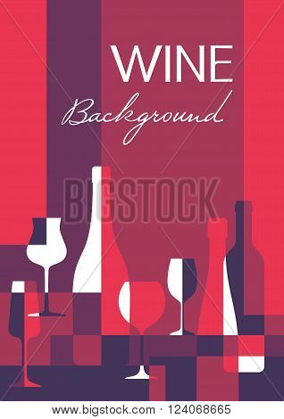 Wine abstract background in A4 vertical format. Wine bottles and glasses - vector illustration for creative design projects.