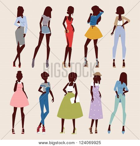Fashion abstract vector girls look. Fashion woman looks portrait. Beautiful sexy stylish girl or young woman vector cartoon style illustration. Fashion model girls