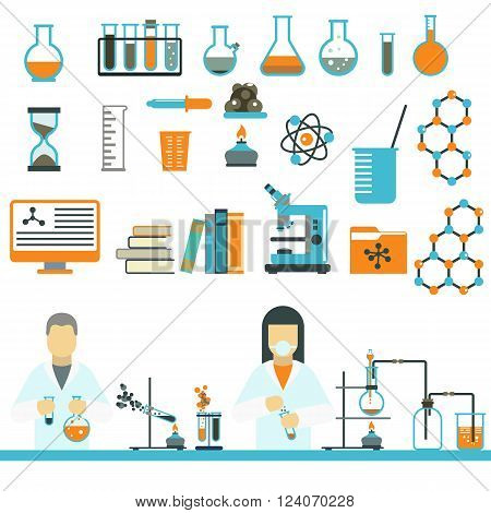 Laboratory symbols test medical and laboratory symbols scientific biology design. Laboratory symbols molecule microscope concept. Biotechnology. Laboratory symbols science and chemistry icons vector.