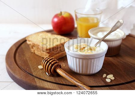 Breakfast: Fresh cheese toast and orange juice