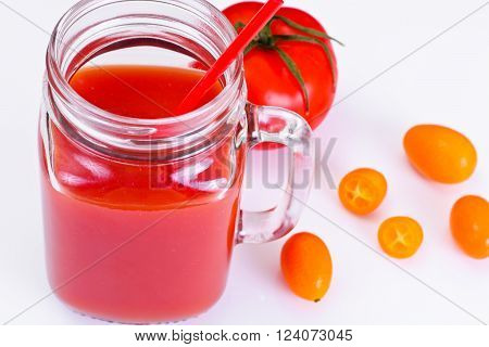 Sweet Tasty Vitamin Tomato Smoothies Juice Studio Photo
