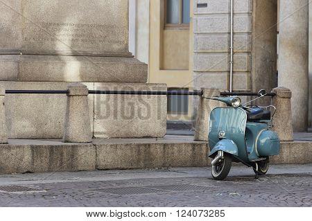 NOVARA, ITALY - FEBRUARY 4, 2016: Vintage Italian scooter in the historical center of the Piedmontese capital city of the province of Novara