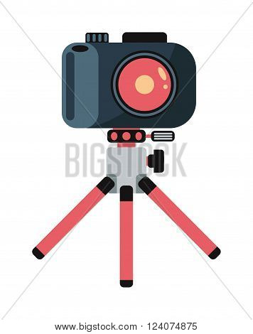 Modern photo camera on tripod and digital film photo camera on tripod. Pink tripod. Flat photo camera shutter creative optical classic cam. Digital flat photo camera on tripod technology vector.