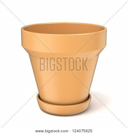 Empty clay plant pot. 3D render illustration isolated on white background