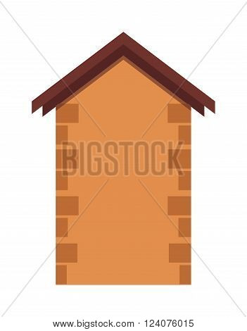 House brick stone wall and house silhouette architecture brick. House silhouette with brown roof. House flat construction estate. House or real estate silhouettes with brown brick stone wall vector.