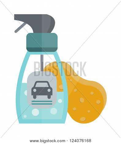 Cleanser bottle chemical housework product and cleanser plastic bottle care wash equipment. Two plastic spray cleanser bottle with cleaning liquid flat vector illustration.