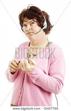 Humorous photo of a man in a dress, symbolizing that you don't know who you're really talking to when you dial a 900 number.