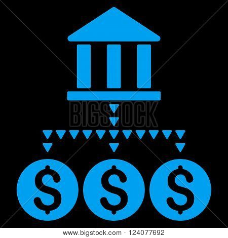 Bank Structure vector icon. Bank Structure icon symbol. Bank Structure icon image. Bank Structure icon picture. Bank Structure pictogram. Flat blue bank structure icon.
