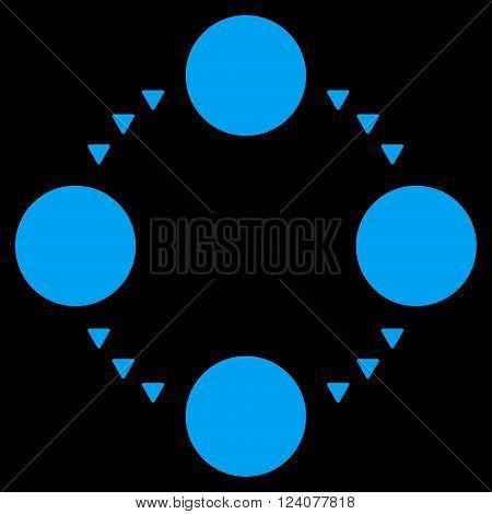 Circular Relations vector icon. Circular Relations icon symbol. Circular Relations icon image. Circular Relations icon picture. Circular Relations pictogram. Flat blue circular relations icon.