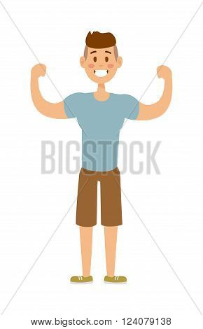 Strong sport man strength health lifestyle and strong attractive power muscle sport man. Sport man workout. Healthy built strong sport man model fashionable active sportswear cartoon character vector.