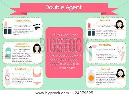 Double agent beauty tips infographic. Hidden secrets of beauty tools for women and girls