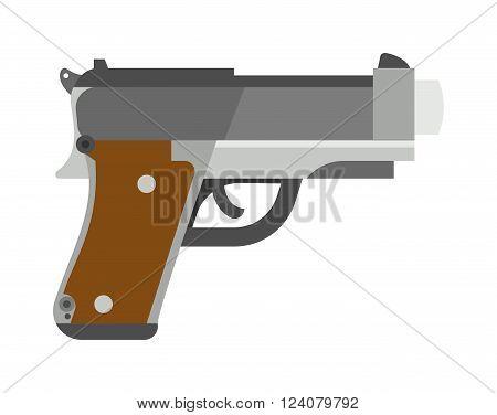 Pistol gun fire security bullet and ammunition protection metal pistol gun. Criminal arm pistol gun and danger military weapon. Weapon series vintage wild west army handgun military pistol gun vector.
