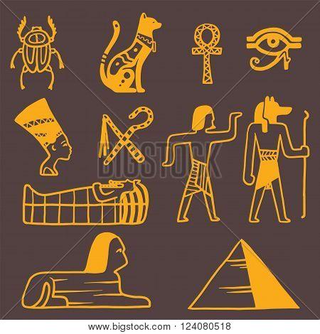 Egypt travel vector icons. Egypt symbols. Travel to Egypt infographic design elements vector illustration cartoon style. Pharaohs, egypt cat, pyramid and head
