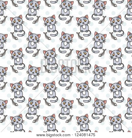 Seamless pattern of cute cat characters. Fishbone. Ornament for kids.