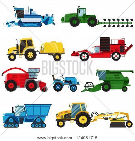 Agriculture industrial farm equipment, machinery tractors combines and excavators farm equipment, collection machinery vector. Equipment farm for agriculture machinery combine harvester vector.