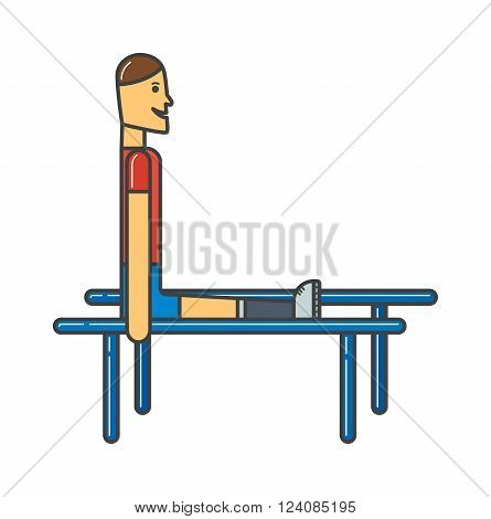 Gymnastics competition and Gymnastics exercise balance body. Gymnastics horizontal strength performance. Gymnastic athletic chalk. Gymnastics with man at parallel bars sport female training vector.