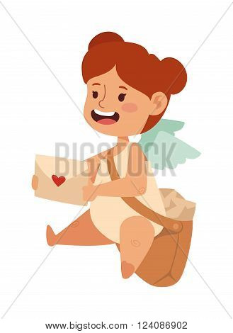 Postman angel cartoon cute girl and postman kid angel girl. Pretty postman fairy angel girl with wings, young child romantic character. Cartoon postman angel girl holding mail heart and bag vector.