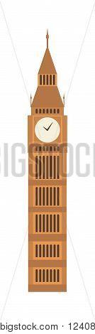 London big ben tower and big ben clock britain monument. Famous big ben building britain westminster parliament clock tower. Vector illustration big ben clock symbol of London and United Kingdom.