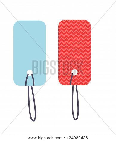 Price tag business icon discount and price tag retail promotion symbol. Empty price tag gift coupon, price tag sale price card shopping. Empty retro colorful vector labels price tag with strings.