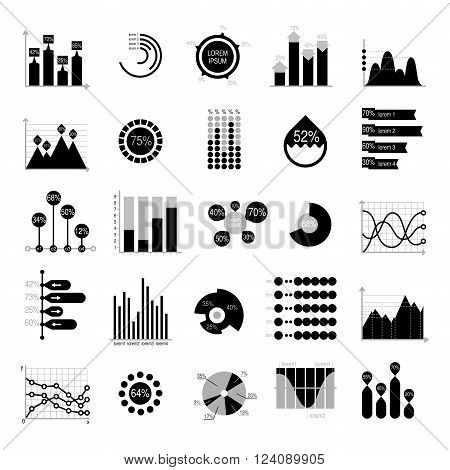 Business data graph analytics vector elements black silhouette. Bar pie charts diagrams and graphs flat icons set. Infographics data analytics design elements isolated on white vector illustration