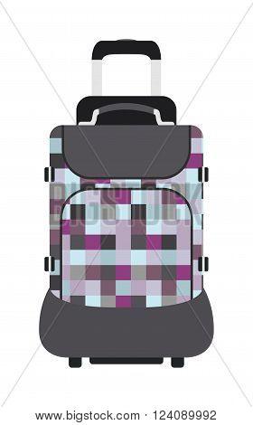 Travel tourism bag and vacation handle travel bag. Travel bag leather big packing and voyage big bag destination. Travel bag on wheels. Journey suitcase travel bag trip baggage vacation vector.