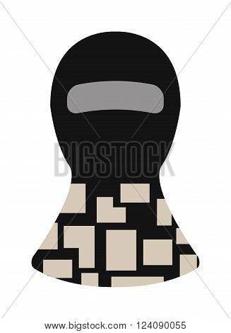 Fase balaclava and balaclava black mask. Terrorist man balaclava, burglary security balaclava fashion style. Protection burglary hat. Balaclava winter face protection hat flat clothes vector.