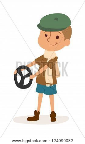 Driver boy with rider and driver funny cartoon boy. Profession driver automobile kid, fun road wheel driving childhood driver boy. Driver boy with car rudder cute cartoon vector profession character.