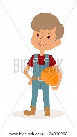 Cute cartoon profession builder kid and builder boy with helmet. Builder boy cheerful construction worker child. Young protective repair. Little cartoon builder boy in uniform with tools helmet vector