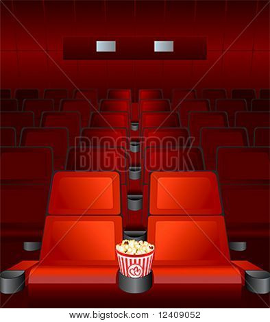 empty chairs inside movie cinema with highlighted love-seat