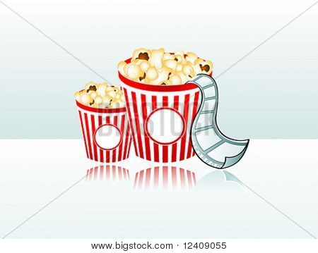 vector illustration of two popcorn buckets with film strip