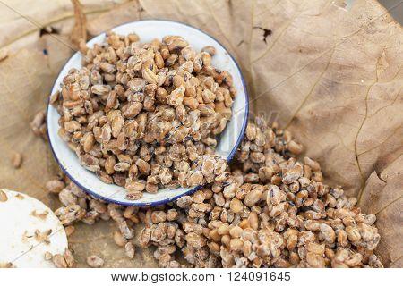 Bean rot texture or bean rot background. Thai food.