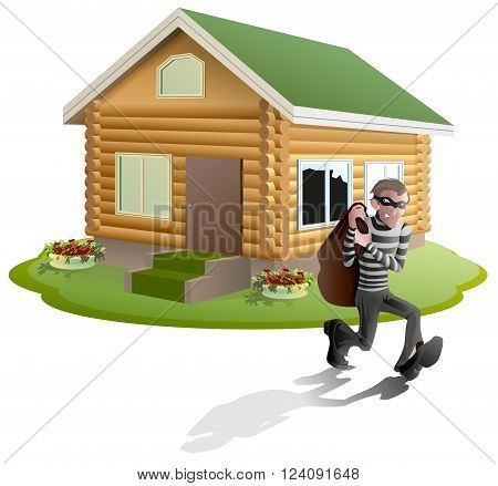 Thief robbed house. Man robber running with bag. Property insurance. Illustration in vector format