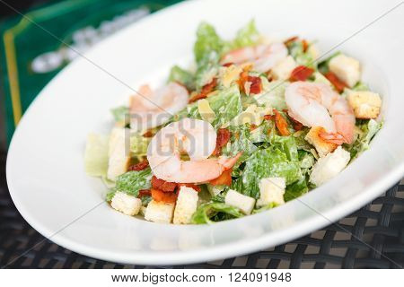 Caesar salad with shrimp and fresh vegetables in white plate on steel table. Italian food.