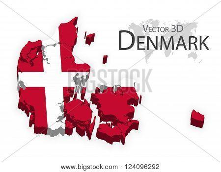 Kongeriget Danmark 3D ( flag and map ) ( transportation and tourism concept )