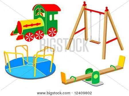 Playground equipment, 1: Carousel, Swing, See-saw, Wooden Train