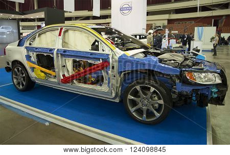 ST. PETERSBURG, RUSSIA - APRIL 12, 2015: The Volvo group demonstrates a passive safety system for passengers in the car the Volvo S80