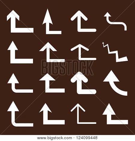 Turn Forward vector icon set. Collection style is white flat symbols on a brown background. Turn Forward icons.