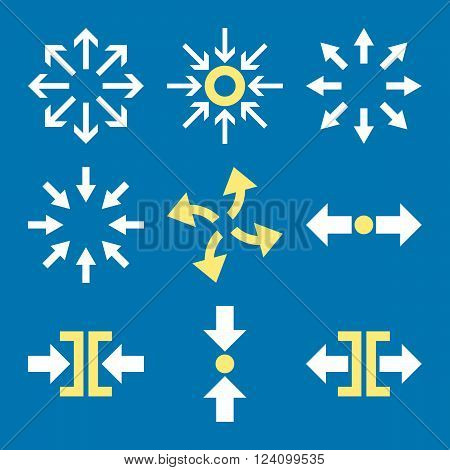 Compress and Explode Arrows vector icon set. Collection style is bicolor yellow and white flat symbols on a blue background. Compress And Explode Arrows icons.