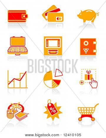 All about earning, saving and spending money icon set.