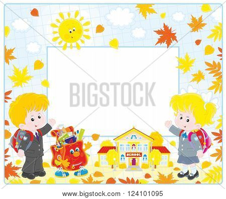 Horizontal vector frame border with a schoolgirl, a schoolboy, a character Schoolbag and a school among yellow autumn leaves