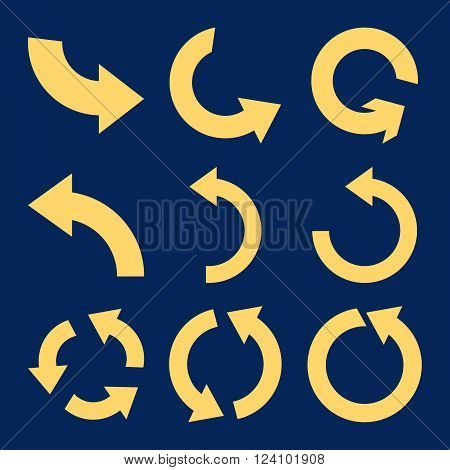 Rotate Counterclockwise vector icon set. Collection style is yellow flat symbols on a blue background. Rotate Counterclockwise icons.