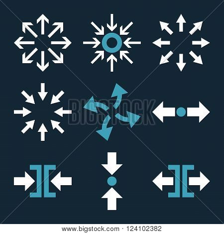 Compress and Explode Arrows vector icon set. Collection style is bicolor blue and white flat symbols on a dark blue background. Compress And Explode Arrows icons.